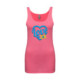 Next Level Ladies Junior Fit Fuchsia Jersey Tank-Love In Heart