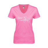 Next Level Ladies Junior Fit Deep V Pink Tee-Sigma Chi Sweetheart Script