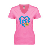 Next Level Ladies Junior Fit Deep V Pink Tee-Love In Heart