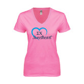 Next Level Ladies Junior Fit Deep V Pink Tee-Script Sweetheart w/ Heart