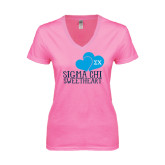 Next Level Ladies Junior Fit Deep V Pink Tee-Sigma Chi Sweetheart w/ Double Hearts