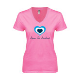 Next Level Ladies Junior Fit Deep V Pink Tee-Hearts Sigma Chi Sweetheart