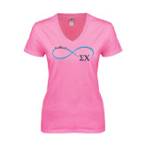 Next Level Ladies Junior Fit Deep V Pink Tee-Infinity Symbol Sweetheart