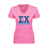 Next Level Ladies Junior Fit Deep V Pink Tee-Zebra Print Greek Letters Sweetheart