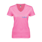 Next Level Ladies Junior Fit Deep V Pink Tee-Sigma Chi Rhinestones Sweetheart