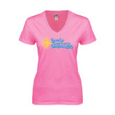 Next Level Ladies Junior Fit Deep V Pink Tee-Grand Chapter San Diego 2015