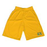 Midcourt Performance Gold 11 Inch Game Short-Sigma Chi Greek Letters