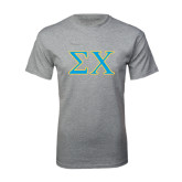 Grey T Shirt-Sigma Chi Greek Letters