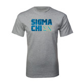 Grey T Shirt-Sigma Chi Block Text