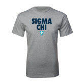 Grey T Shirt-Stacked Sigma Chi w/ Shield