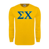 Gold Long Sleeve T Shirt-Sigma Chi Greek Letters