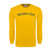 Gold Long Sleeve T Shirt-Arched Sigma Chi