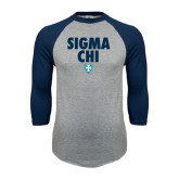 Grey/Navy Raglan Baseball T Shirt-Stacked Sigma Chi w/ Shield