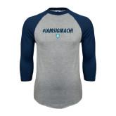 Grey/Navy Raglan Baseball T Shirt-IAMSIGMACHI