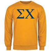 Gold Fleece Crew-Sigma Chi Greek Letters