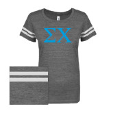ENZA Ladies Dark Heather/White Vintage Triblend Football Tee-Sigma Chi Greek Letters