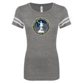 ENZA Ladies Dark Heather/White Vintage Football Tee-81st Grand Chapter