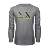 Grey Long Sleeve T Shirt-Sigma Chi Greek Letters