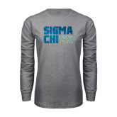 Grey Long Sleeve T Shirt-Sigma Chi Block Text