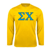 Syntrel Performance Gold Longsleeve Shirt-Sigma Chi Greek Letters