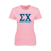 Ladies Pink T-Shirt-Zebra Print Greek Letters Sweetheart