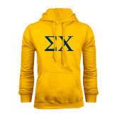 Gold Fleece Hoodie-Sigma Chi Greek Letters
