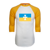 White/Gold Raglan Baseball T-Shirt-Flag