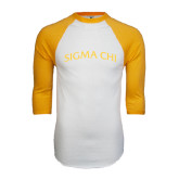 White/Gold Raglan Baseball T-Shirt-Arched Sigma Chi