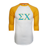 White/Gold Raglan Baseball T-Shirt-Sigma Chi Greek Letters