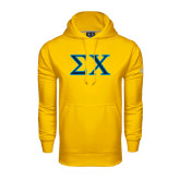Under Armour Gold Performance Sweats Team Hood-Sigma Chi Greek Letters