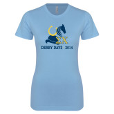 Ladies SoftStyle Junior Fitted Light Blue Tee-Derby Days Hat Horse Shoe & Horse Head, Personalized