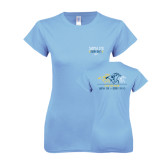 Ladies SoftStyle Junior Fitted Light Blue Tee-Derby Days Horses Racing, Personalized