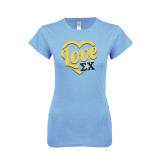 Ladies SoftStyle Junior Fitted Light Blue Tee-Love In Heart