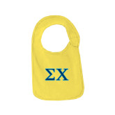 Yellow Baby Bib-Sigma Chi Greek Letters