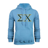 Light Blue Fleece Hoodie-Sigma Chi Greek Letters