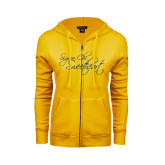 ENZA Ladies Gold Fleece Full Zip Hoodie-Sigma Chi Sweetheart Script