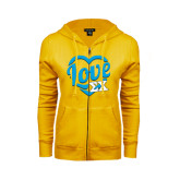 ENZA Ladies Gold Fleece Full Zip Hoodie-Love In Heart