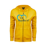 ENZA Ladies Gold Fleece Full Zip Hoodie-Script Sweetheart w/ Heart