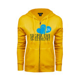 ENZA Ladies Gold Fleece Full Zip Hoodie-Sigma Chi Sweetheart w/ Double Hearts