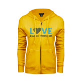 ENZA Ladies Gold Fleece Full Zip Hoodie-Love Sigma Chi Sweetheart Lines