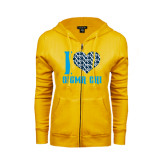 ENZA Ladies Gold Fleece Full Zip Hoodie-I Heart Sigma Chi