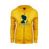 ENZA Ladies Gold Fleece Full Zip Hoodie-Sigma Chi Sweetheart - Girl w/ Flower