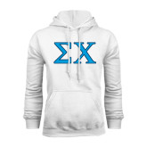 White Fleece Hoodie-Sigma Chi Greek Letters