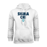White Fleece Hood-Stacked Sigma Chi w/ Shield