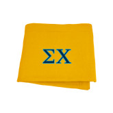Gold Sweatshirt Blanket-Sigma Chi Greek Letters