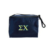 Six Pack Navy Cooler-Sigma Chi Greek Letters