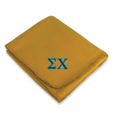 Gold Arctic Fleece Blanket-Sigma Chi Greek Letters