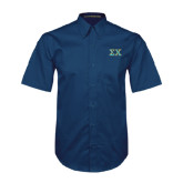 Navy Twill Button Down Short Sleeve-Sigma Chi Greek Letters