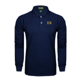 Navy Long Sleeve Polo-Sigma Chi Greek Letters