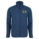 Navy Softshell Jacket-Sigma Chi Greek Letters